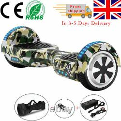 Electric Scooters 6.5 Green Camo Hoverboard Bluetooth LED Kids Balance Board-UK