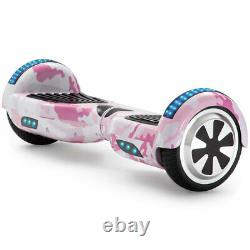 Electric Scooters Pink Camo 6.5 Inch Kids Hoverboard Bluetooth LED Balance Board