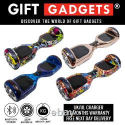 Gift Gadgets 6.5 Electric Scooters Bluetooth Self Balance Boards LED Lights UK