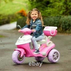 Girls Pink Electric Scooter 6V Ride On With Balancing Footrest-Horn Fits In Cars