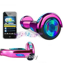 Hoverboard Bluetooth Pink Chrome Self Balancing Electric Scooters LED Skateboard