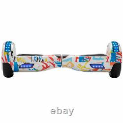 Hoverboard Graffiti White Bluetooth Electric Scooters LED 2 Wheels Balance Board