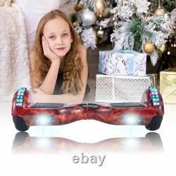 Hoverboard Red Flame Electric Scooters Bluetooth 2 Wheels LED Self Balance Board