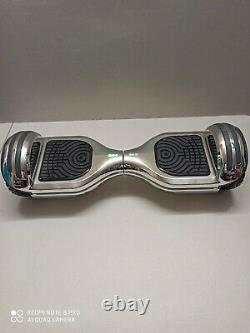 Hoverboard Self Balancing Electric Scooter 6.5 Inch Led Lights Silver Chrome