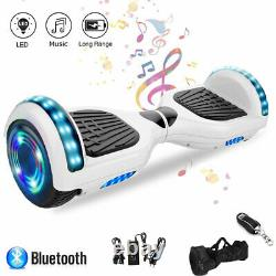 Hoverboard White 6.5 Self Balancing Electric Scooters Bluetooth LED Skateboard