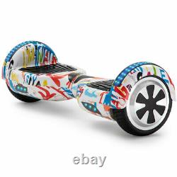 Hoverboard White Graffiti Bluetooth Electric Scooters LED 2 Wheels Balance Board
