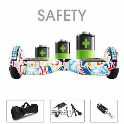 Hoverboard White Graffiti Electric Scooters Bluetooth 2 Wheels LED Balance Board